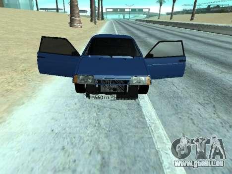 VAZ 2108 une douzaine bleu pour GTA San Andreas sur la vue arrière gauche