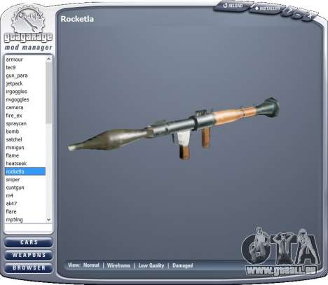 GTA Garage Mod Manager version 1.7 (270805) pour GTA San Andreas deuxième écran