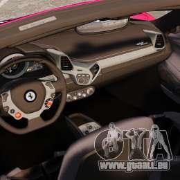Ferrari 458 Spider Pink Pistol 027 Gumball 3000 pour GTA 4 est une vue de l'intérieur