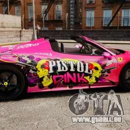 Ferrari 458 Spider Pink Pistol 027 Gumball 3000 pour GTA 4 est une gauche