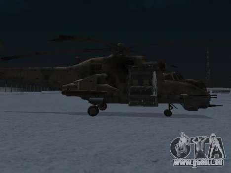 Le MI-24p pour GTA San Andreas sur la vue arrière gauche