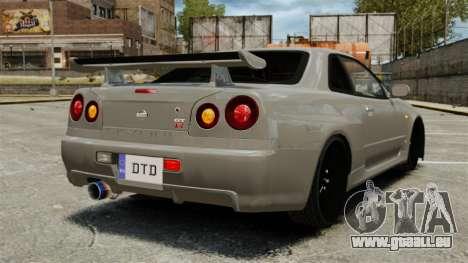 Nissan Skyline R34 pour GTA 4 Vue arrière de la gauche