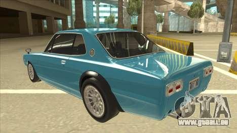 Nissan Skyline 2000 GT-R RB26DETT Black Revel pour GTA San Andreas vue arrière