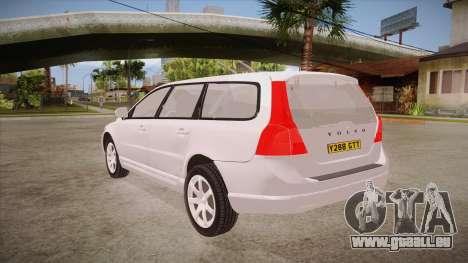 Volvo V70 Unmarked Police pour GTA San Andreas sur la vue arrière gauche