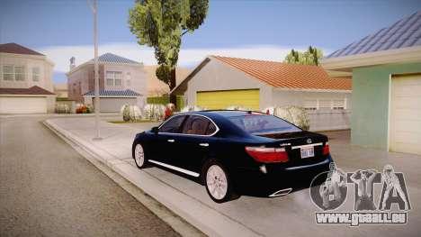 Lexus LS 600h L pour GTA San Andreas sur la vue arrière gauche