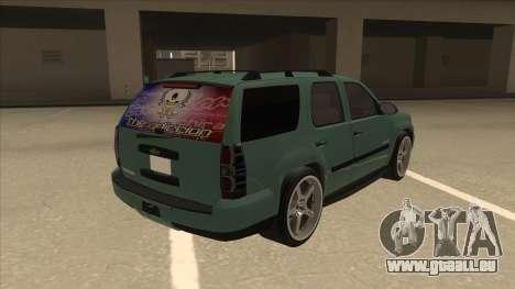 Chevrolet Tahoe Sound Car The Adiccion für GTA San Andreas rechten Ansicht