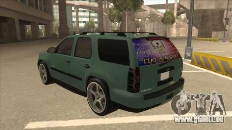 Chevrolet Tahoe Sound Car The Adiccion für GTA San Andreas Rückansicht