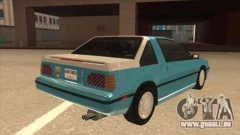 Nissan EXA L.A. Version pour GTA San Andreas vue de dessous
