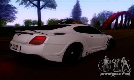 Bentley Continental GT für GTA San Andreas Rückansicht