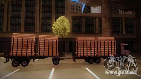 Camion semi-remorque bois pour MB 2644 trem fren pour GTA San Andreas sur la vue arrière gauche