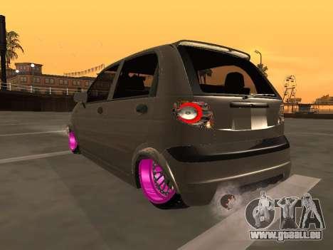 Daewoo Matiz Mexi Flush pour GTA San Andreas sur la vue arrière gauche