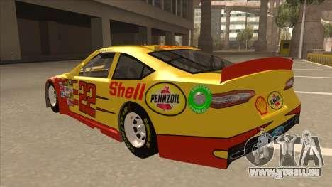 Ford Fusion NASCAR No. 22 Shell Pennzoil pour GTA San Andreas vue arrière