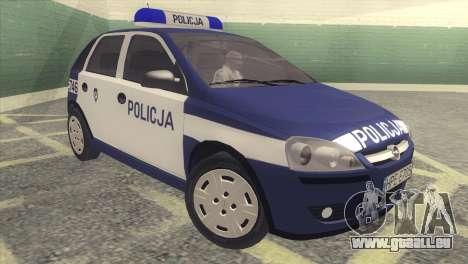 Opel Corsa C Policja pour GTA San Andreas laissé vue