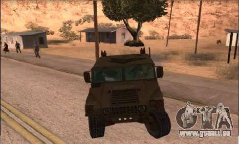 Hummer H1 de la jeu Resident Evil 5 pour GTA San Andreas sur la vue arrière gauche