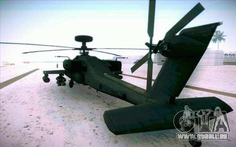 AH-64 Apache pour GTA San Andreas laissé vue
