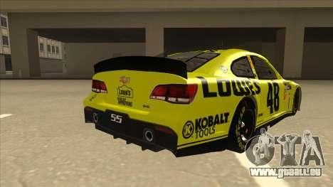 Chevrolet SS NASCAR No. 48 Lowes yellow pour GTA San Andreas vue de droite
