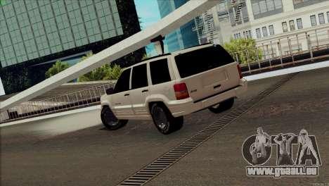 Jeep Grand Cherokee für GTA San Andreas zurück linke Ansicht