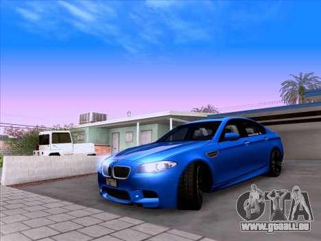 BMW M5 F10 2012 Autovista für GTA San Andreas Rückansicht
