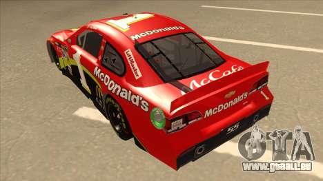 Chevrolet SS NASCAR No. 1 McDonalds pour GTA San Andreas vue arrière