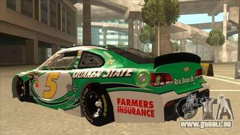 Chevrolet SS NASCAR No. 5 Quaker State für GTA San Andreas Rückansicht