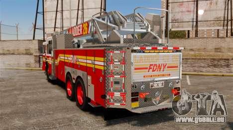 Ferrara 100 Aerial Ladder FDNY 2013 [ELS] pour GTA 4 Vue arrière de la gauche