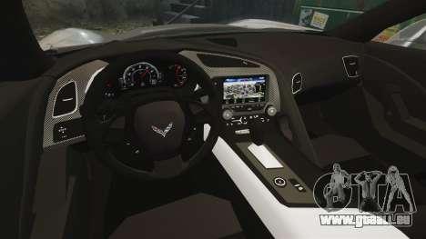 Chevrolet Corvette C7 Stingray 2014 pour GTA 4 est une vue de l'intérieur