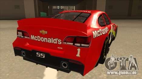 Chevrolet SS NASCAR No. 1 McDonalds pour GTA San Andreas vue de droite