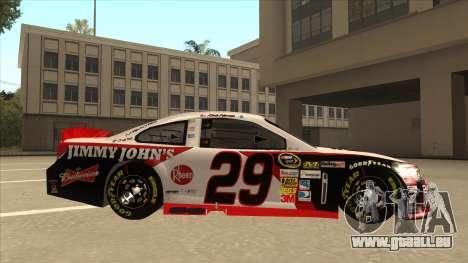 Chevrolet SS NASCAR No. 29 Jimmy Johns für GTA San Andreas zurück linke Ansicht