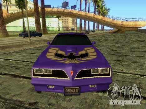 Pontiac Firebird Overhaulin pour GTA San Andreas laissé vue
