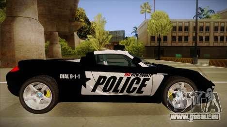 Porsche Carrera GT 2004 Police Black für GTA San Andreas zurück linke Ansicht