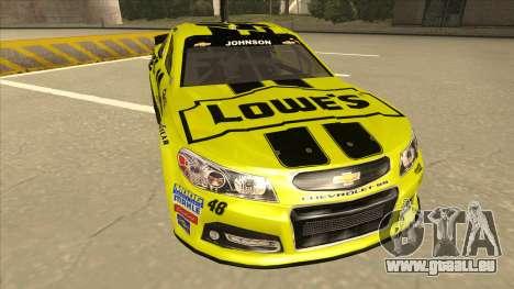 Chevrolet SS NASCAR No. 48 Lowes yellow pour GTA San Andreas laissé vue