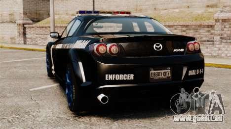 Mazda RX-8 R3 2011 Police pour GTA 4 Vue arrière de la gauche