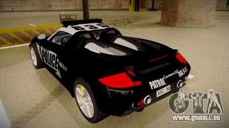Porsche Carrera GT 2004 Police Black pour GTA San Andreas vue arrière