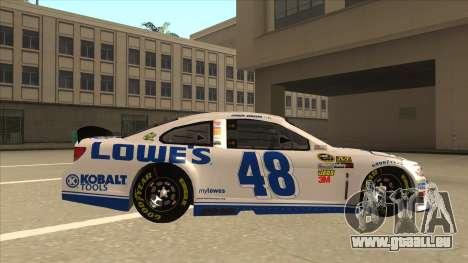 Chevrolet SS NASCAR No. 48 Lowes white pour GTA San Andreas sur la vue arrière gauche