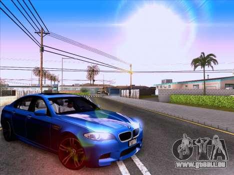 BMW M5 F10 2012 Autovista für GTA San Andreas zurück linke Ansicht