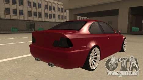 BMW M3 Tuned pour GTA San Andreas vue de droite