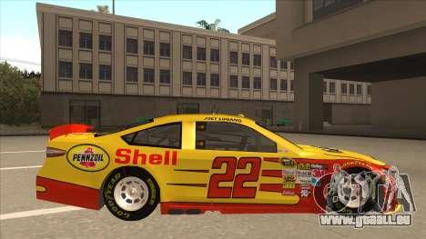 Ford Fusion NASCAR No. 22 Shell Pennzoil pour GTA San Andreas sur la vue arrière gauche