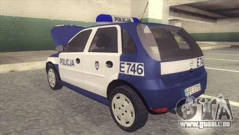 Opel Corsa C Policja pour GTA San Andreas sur la vue arrière gauche