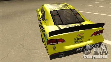 Chevrolet SS NASCAR No. 48 Lowes yellow pour GTA San Andreas vue arrière
