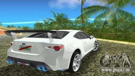 Subaru BRZ Type 4 pour une vue GTA Vice City de l'intérieur