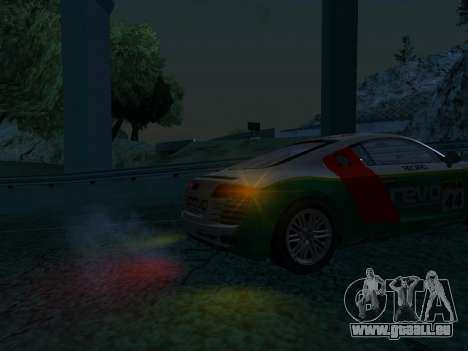 Audi R8 pour GTA San Andreas sur la vue arrière gauche