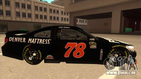 Chevrolet SS NASCAR No. 78 Furniture Row für GTA San Andreas zurück linke Ansicht