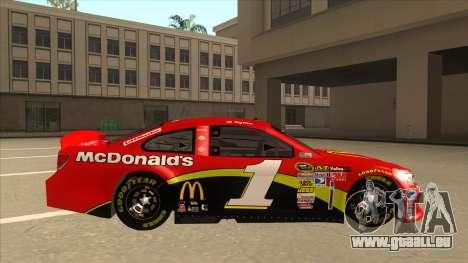 Chevrolet SS NASCAR No. 1 McDonalds für GTA San Andreas zurück linke Ansicht