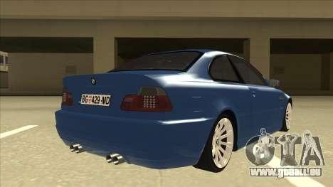 BMW M3 E46 pour GTA San Andreas vue de droite
