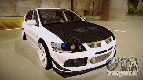 Mitsubishi EVO VIII pour GTA San Andreas laissé vue