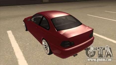 BMW M3 Tuned pour GTA San Andreas vue arrière