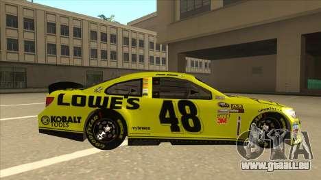Chevrolet SS NASCAR No. 48 Lowes yellow pour GTA San Andreas sur la vue arrière gauche