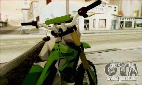 Kawasaki KLX 150 SE für GTA San Andreas zurück linke Ansicht