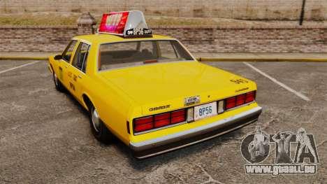 Chevrolet Caprice 1987 L.C.C. Taxi für GTA 4 hinten links Ansicht