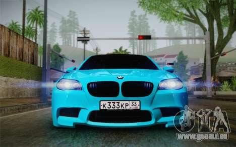 BMW M5 F10 v1 pour GTA San Andreas sur la vue arrière gauche